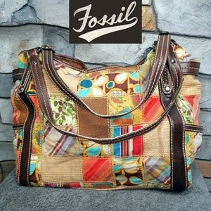 Fossil Vintage Large Patchwork Tote Travel Bag
